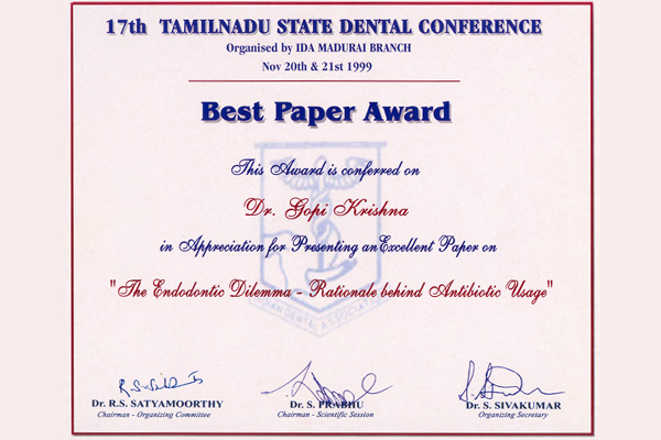Awards Honors Gallery Of Dr Gopikrishna Root Canal